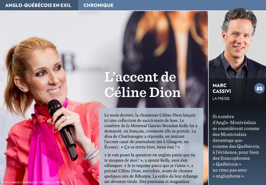 Presse La L'accent De Céline Dion R4AjLq35