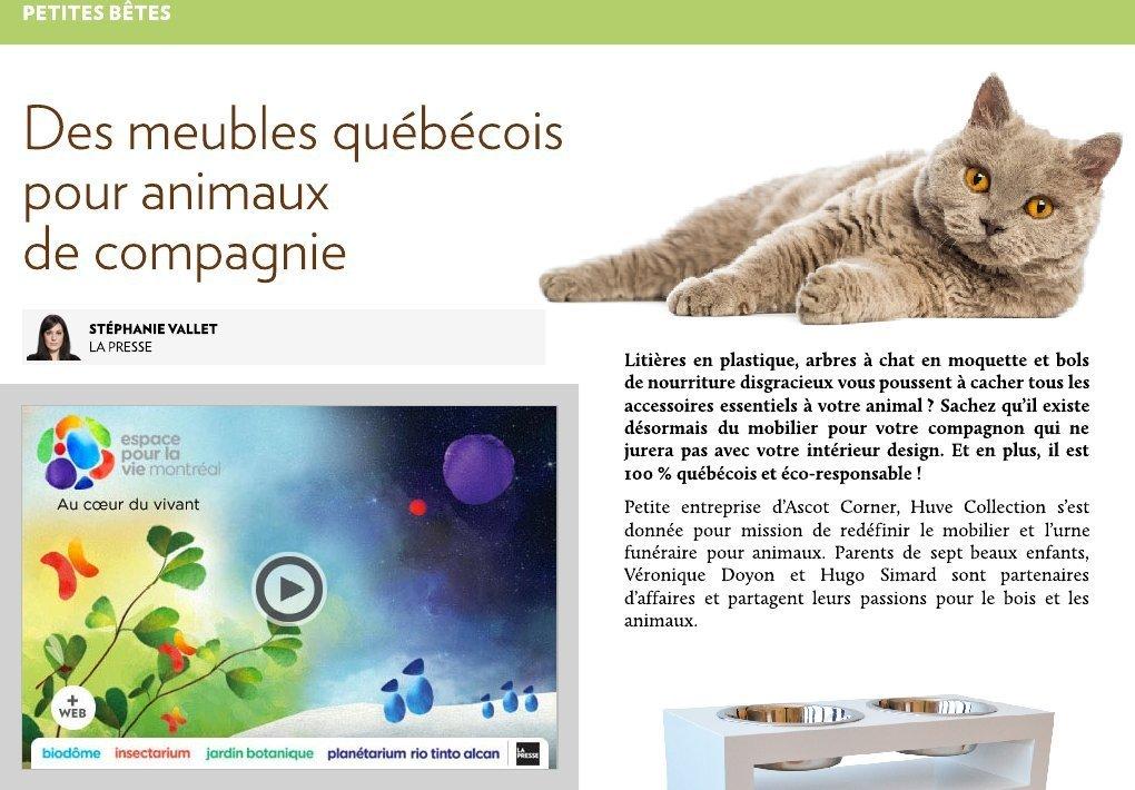 Des meubles qu b cois pour animaux de compagnie la presse for Meuble quebecois design