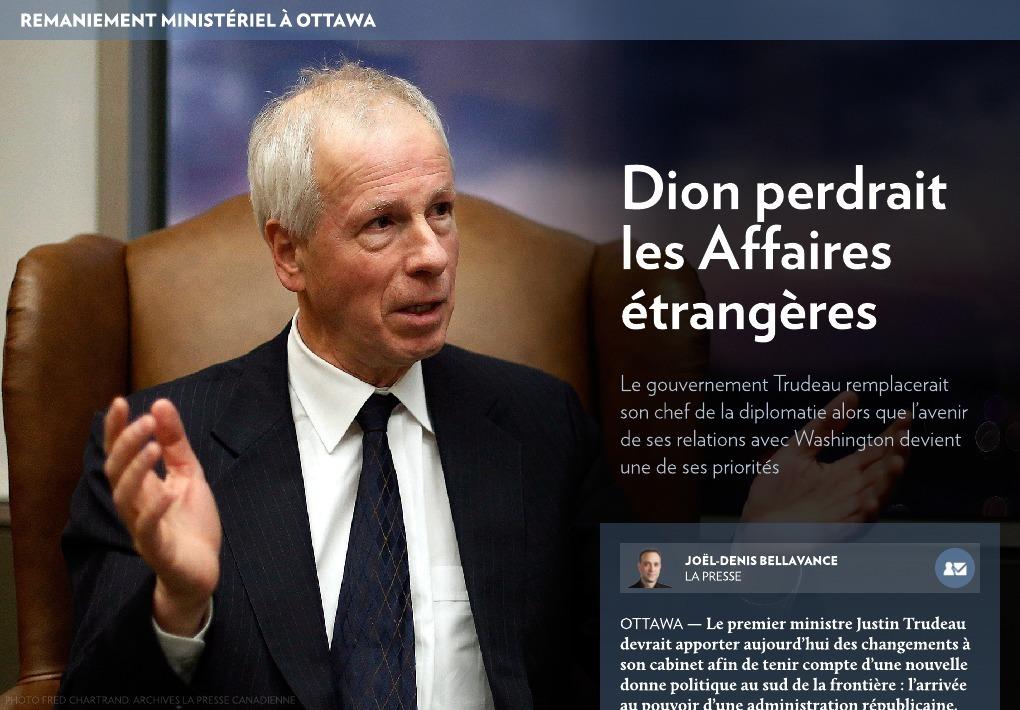 Dion perdrait les affaires trang res la presse - Cabinet du ministre des affaires etrangeres ...