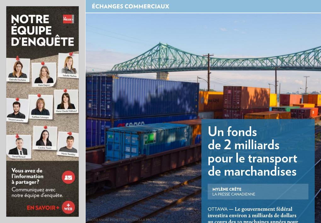 2 milliards pour le transport de marchandises la presse for Chambre de commerce tuniso canadienne