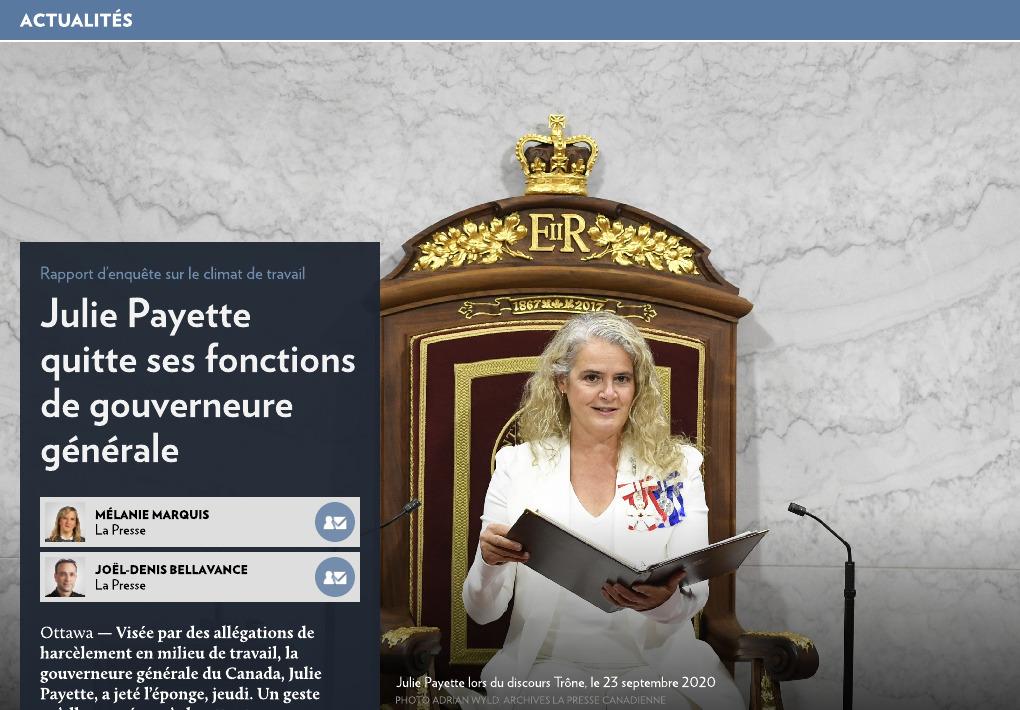 La gouverneure générale quitte ses fonctions - La Presse+