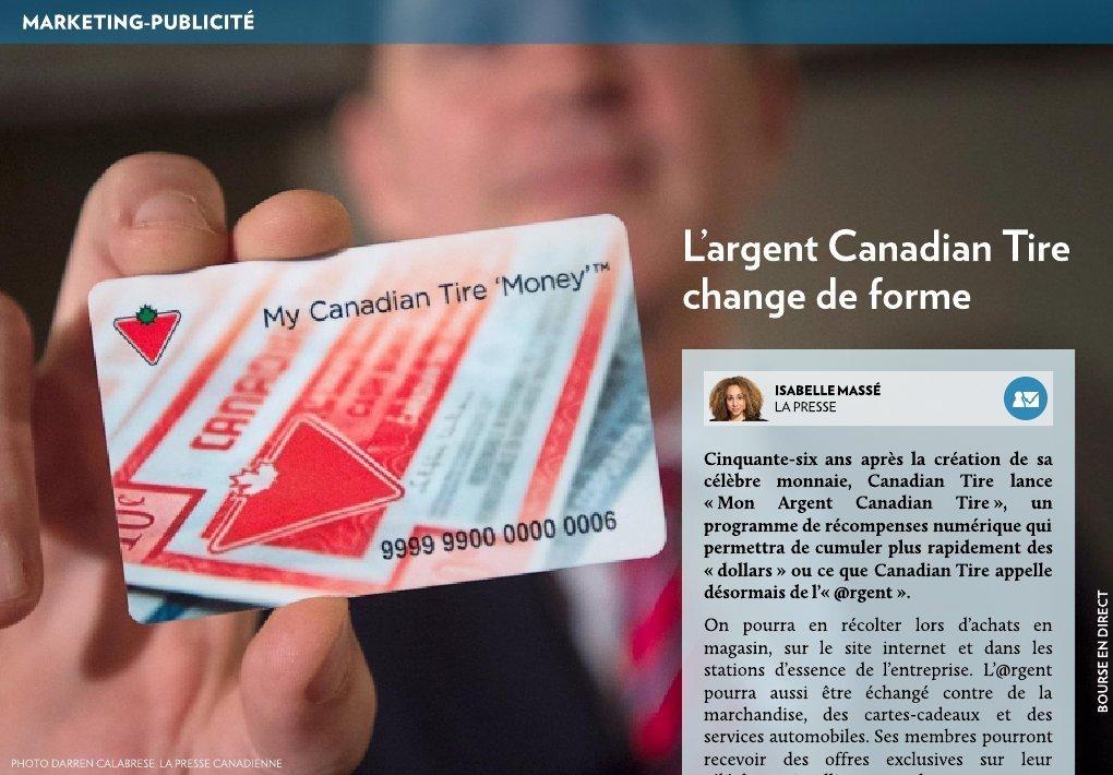L argent canadian tire change de forme la presse for Canadian tire mon compte en ligne