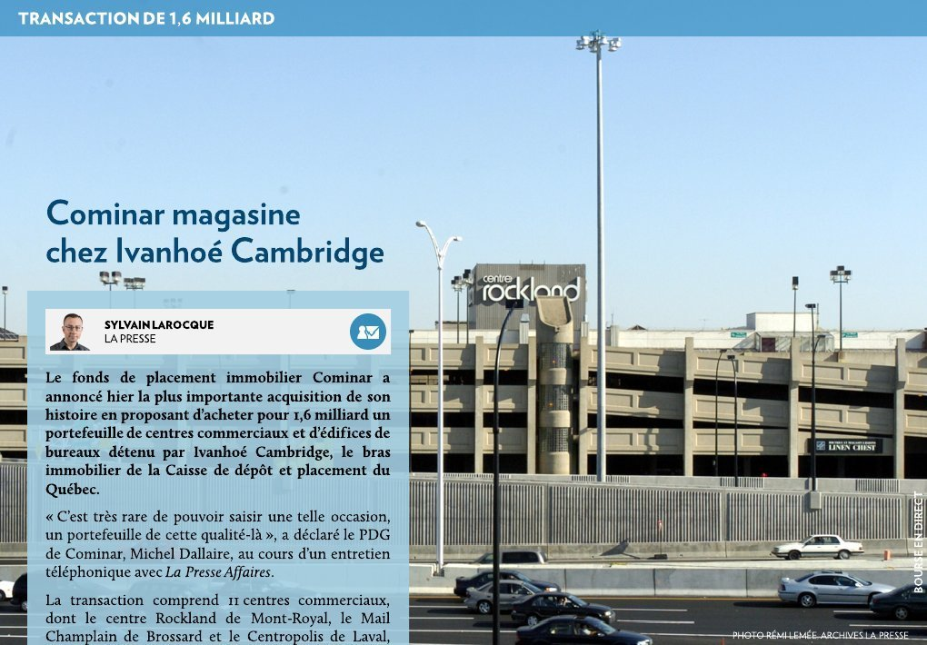 Cominar magasine chez ivanho cambridge la presse - Bureau de placement chez maurice ...