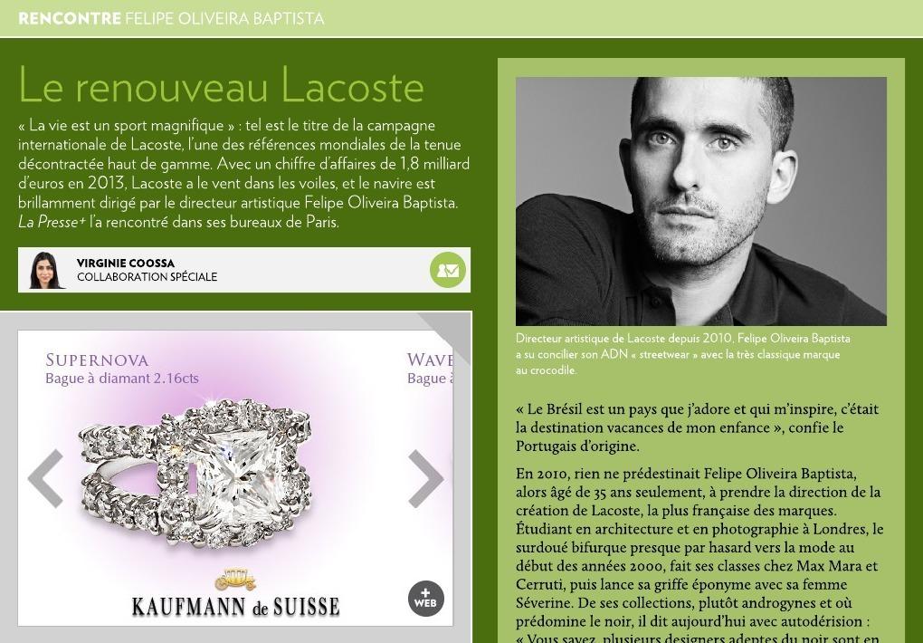 38fe112f8c Felipe Oliveira Baptista : le renouveau de Lacoste - La Presse+