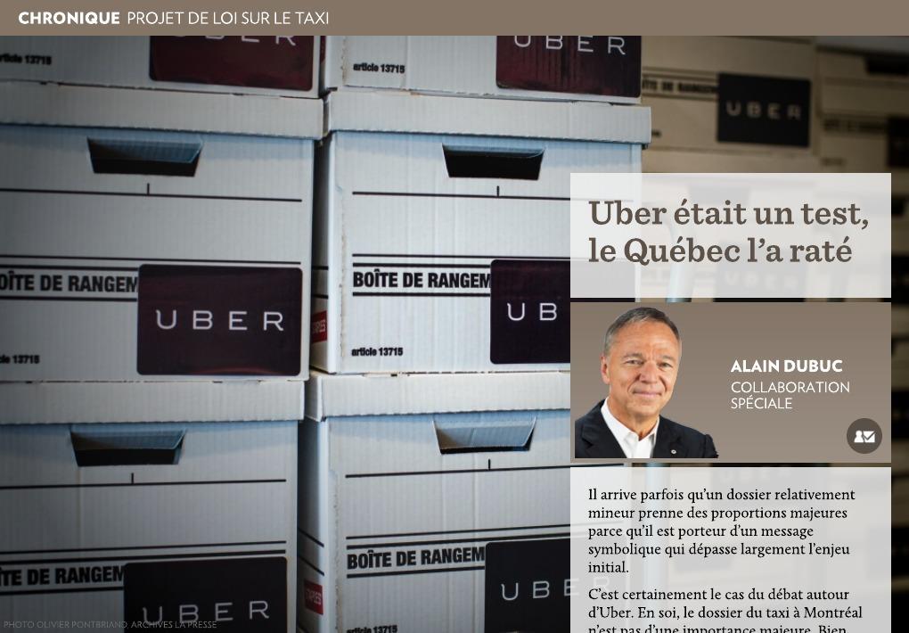 Uber Etait Un Test Le Quebec L A Rate La Presse