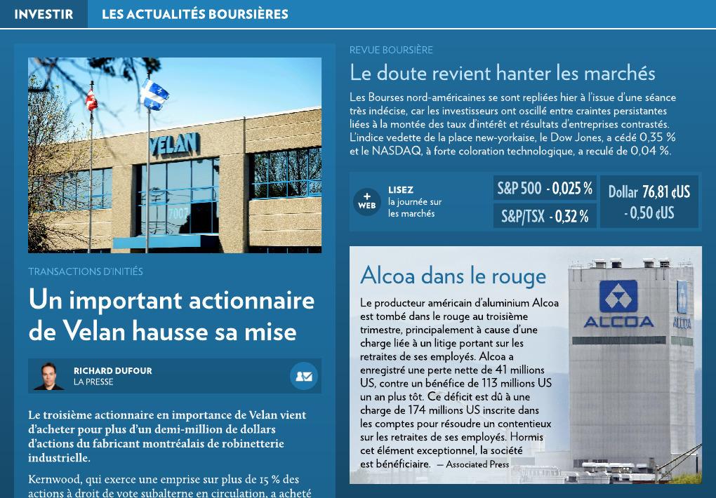 Les Actualites Boursieres La Presse