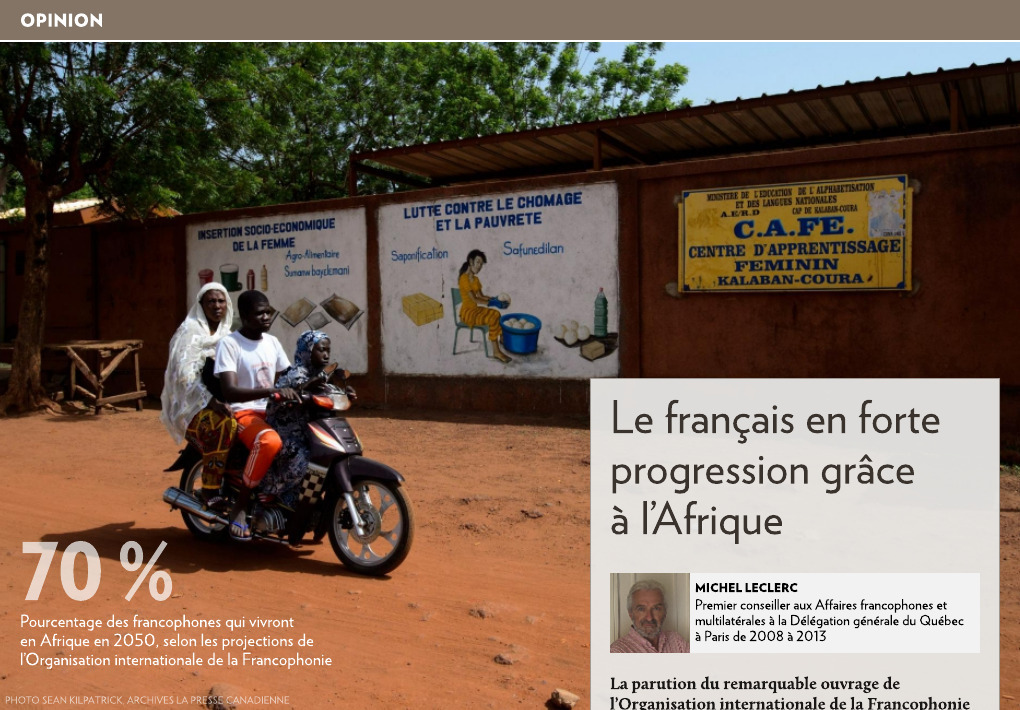 Le Francais En Forte Progression Grace A L Afrique La Presse