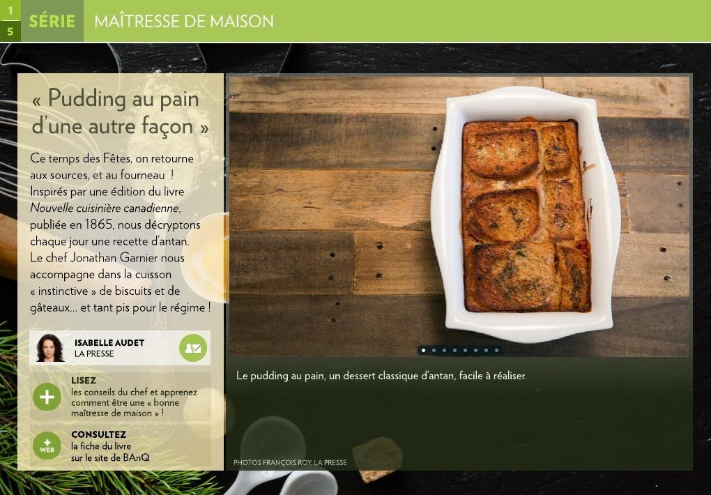 Pudding au pain d'une autre façon » - La Presse+