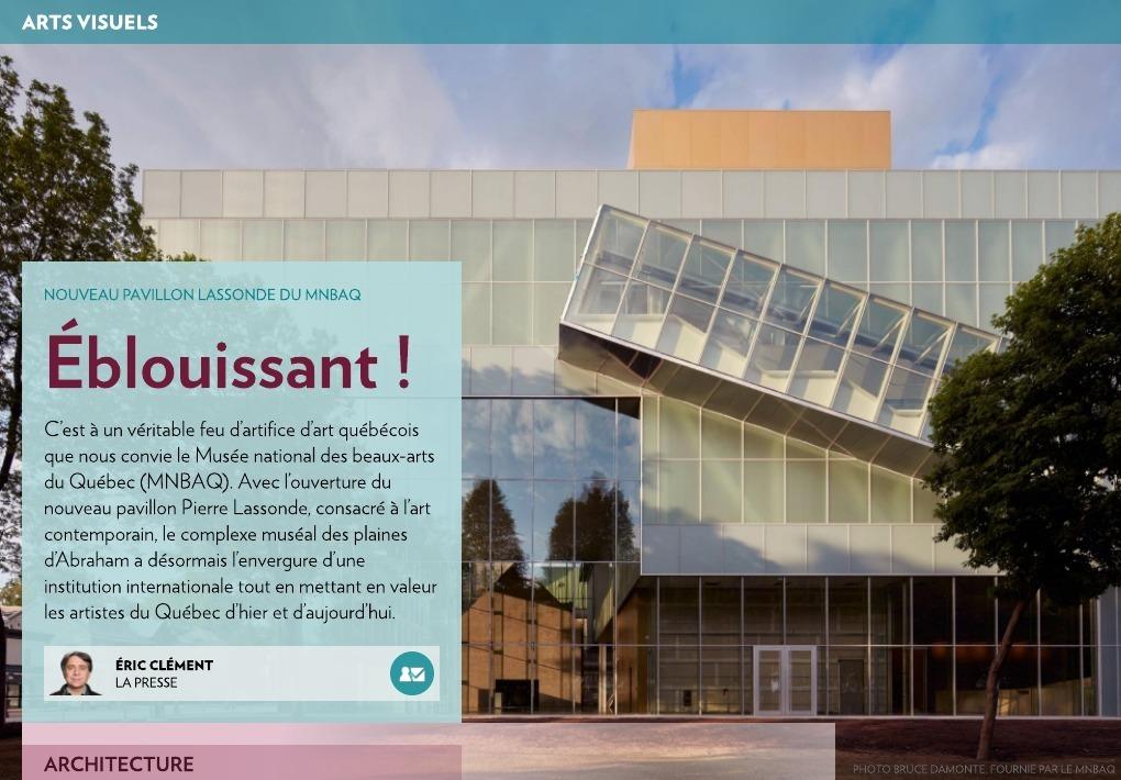 Pavillon lassonde du mnbaq blouissant la presse for Architecte quebecois contemporain
